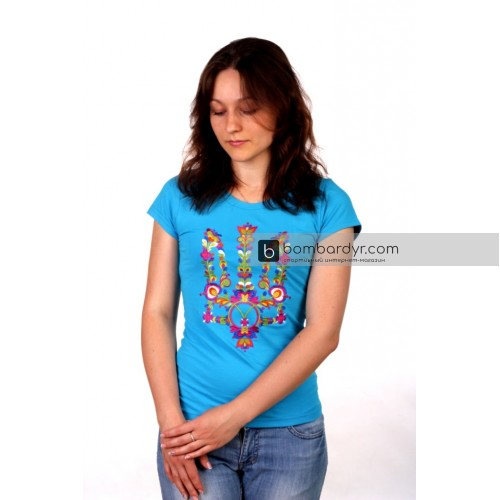 Женская футболка с вышивкой Моя Украина (бирюза)