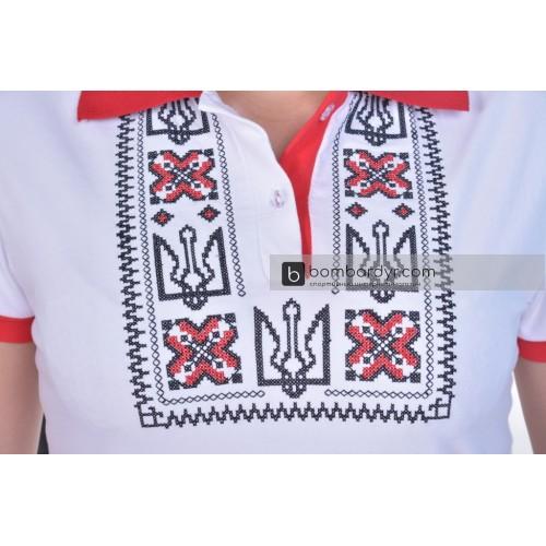 Поло с вышивкой Украина бело-красная женская