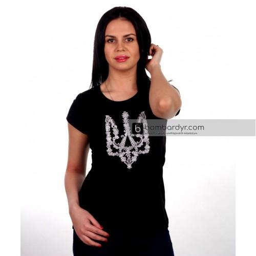 Женская футболка с вышивкой Моя Країна (черная)