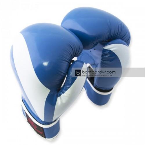 Перчатки для бокса с полосой синие EUROPAW