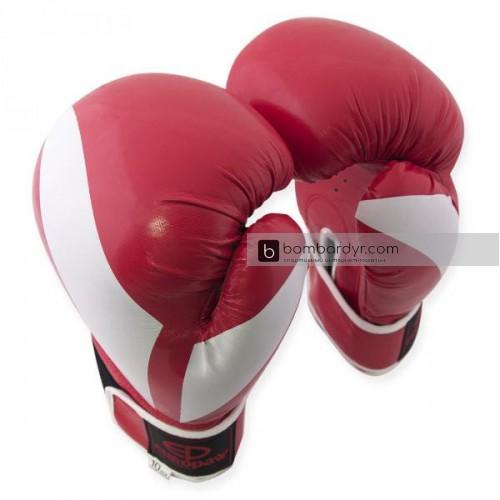 Перчатки для бокса с полосой красные EUROPAW