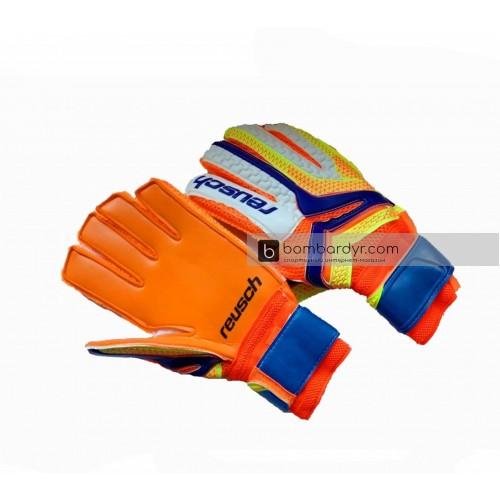 Перчатки вратарские Reusch replica оранжево-салатовые 3077