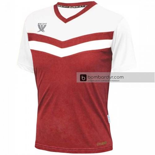 Футболка футбольная Swift Romb (красно-белая)